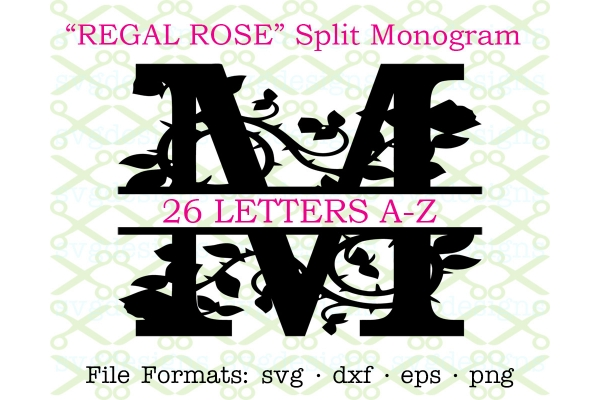 REGAL ROSE FLOURISH SPLIT MONOGRAM SET