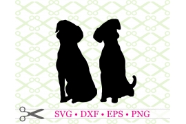 SILHOUETTE OF TWO DOGS