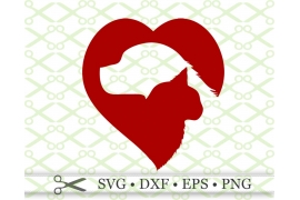 CAT & DOG SILHOUETTE HEART SVG FILE