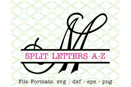 CURLY SCRIPT SPLIT LETTER MONOGRAM SET