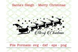 SANTA'S SLEIGH & MERRY CHRISTMAS SVG FILE