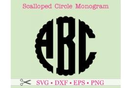 SCALLOP THREE LETTERMONOGRAM SVG