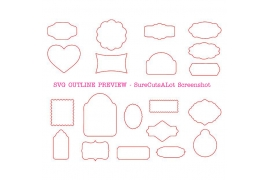 20 GIFT TAG SVG SHAPES Outline