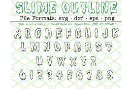SLIME OUTLINE FONT, Halloween Font SVG File