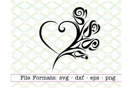 TRIBAL ROSE &HEART SVG
