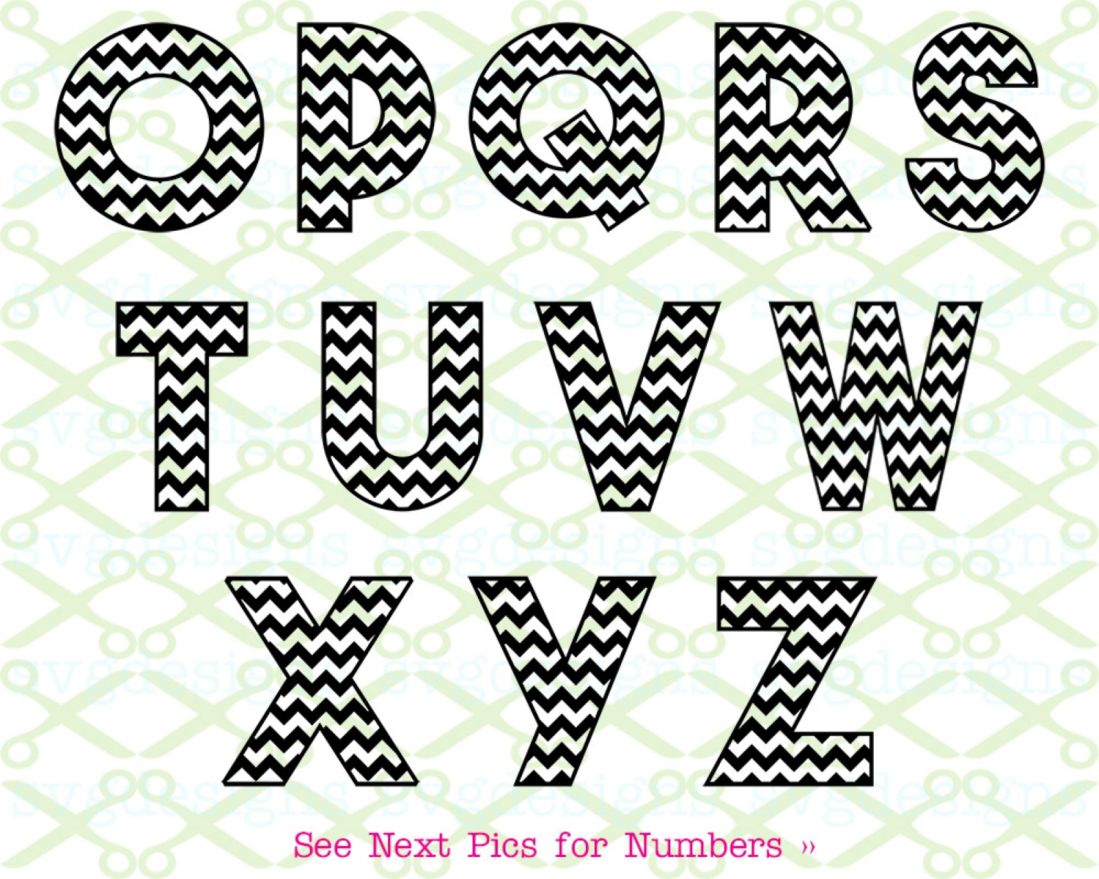 Letters and numbers cut files for cricut and silhouette Chevron letter Chevron pattern svg Patterned font svg Chevron alphabet SVG
