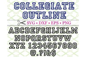 COLLEGIATE OUTLINE FONT SVG FILES