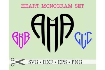 HEART SHAPE THREE LETTER MONOGRAM