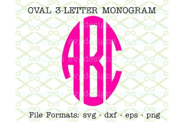 OVAL THREE LETTER CIRCLE MONOGRAM