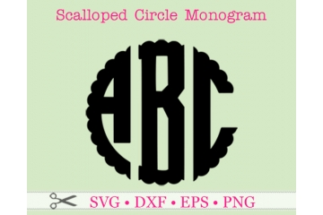 SCALLOP THREE LETTER MONOGRAM