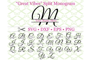 GREAT VIBES SPLIT LETTER MONOGRAM