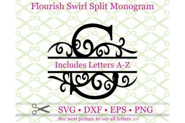 SWIRL FLOURISH SPLIT MONOGRAM SET