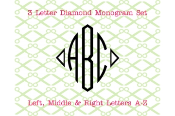 DIAMOND MONOGRAM -THREE LETTER MONOGRAM SVG