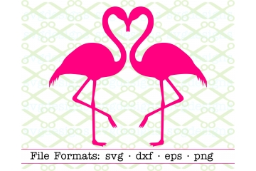 TWO FLAMINGOS HEART SVG