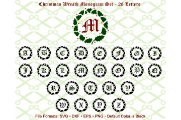 CHRISTMAS MONOGRAM WREATH SVG FILES