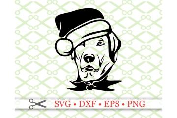 Funny Dog with Santa Hat CHRISTMAS SVG FILE